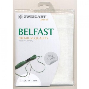 Cross Stitch Embroidery Cloth 32 Count ZWEIGART BELFAST LINEN WHITE 34x48cm Fabric