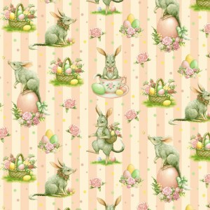 Quilting Patchwork Sewing Fabric EASTER BILBY APRICOT 50x55cm FQ New