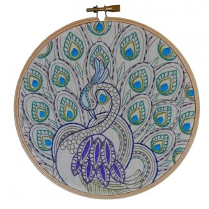 Make It Printed Printed Embroidery PEACOCK ART Hand Stitching
