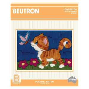BEUTRON Long Stitch Kit Kids Beginner PLAYFUL KITTEN 13x18cm 579872
