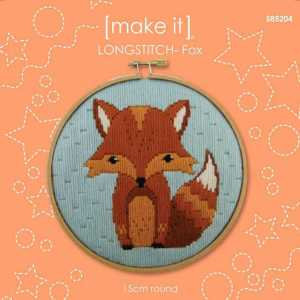 Make It Long Stitch Kit Kids Beginner MR FOX with Hoop 585204