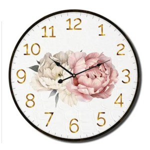 Clock Country Vintage Inspired Wall VOGUE PEONY Floral 22cm