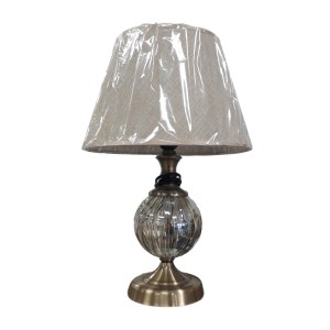 French Country Smoked Plain Lined Glass Based Lamp Brass Accent with Cream Shade