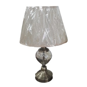 French Country Smoked Plain Glass Based Lamp Brass Accent with Cream Shade