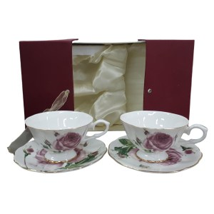 Fine English China Kitchen Tea Cups and Saucers PEBBLED ROSE Set of 2