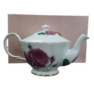 Fine English China Kitchen Teapot PEBBLED ROSE Tea Pot
