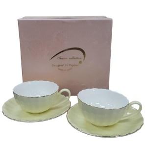 Fine English China Kitchen Tea Cups and Saucers LEMON Set of 2