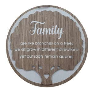 French Country Wooden Round Sign FAMILY TREE Plaque Hang or Stand