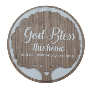 French Country Wooden Round Sign BLESS THIS HOME Plaque Hang or Stand