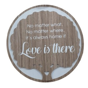 French Country Wooden Round Sign LOVE IS THERE Plaque Hang or Stand