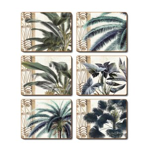 Dining Kitchen NATIVES FLOWERS Cinnamon Cork Backed Coasters Set 6
