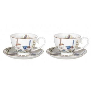 Elegant Kitchen Tea Cups and Saucers Set of 2 AUSTRALIAN BIRDS