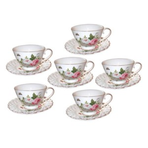 Elegant Kitchen Tea Cups and Saucers Set of 6 BUTTERFLY ROSE