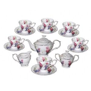 Elegant Kitchen 15 piece Tea Set GALAH Teapot, Cups, Sugar, Creamer