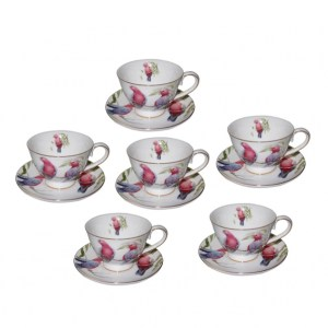 Elegant Kitchen Tea Cups and Saucers Set of 6 GALAH Giftboxed