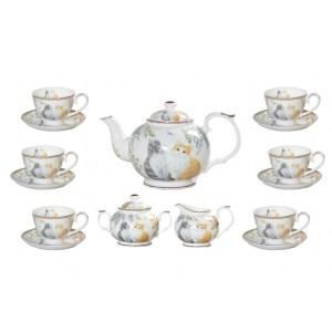 Elegant Kitchen 15 piece Tea Set CATS Teapot, Cups, Sugar, Creamer
