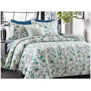 French Country Patchwork Bed Quilt ISLAND DREAMS Throw Coverlet