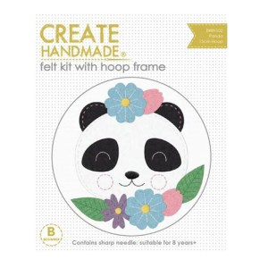 CREATE HANDMADE Felt Sewing Kit Kids PANDA 15 incl Hoop