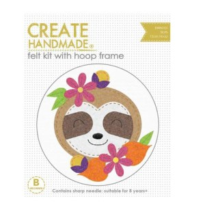 CREATE HANDMADE Felt Sewing Kit Kids SLOTH 15 incl Hoop
