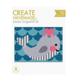 CREATE HANDMADE Long Stitch Kit Kids Beginner WHALE 15x11cm