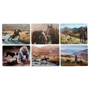 Dining Kitchen Working the Land Horses Cork Backed Placemats Set 6