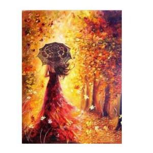 5D Diamond Painting Full Image Square Drills GIRL AUTUMN 40x30cm