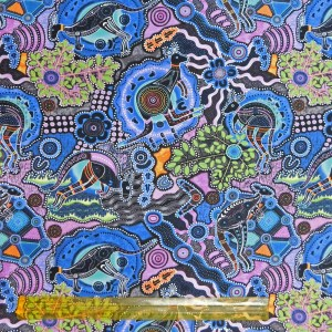 Quilting Patchwork Fabric KANGAROO WALKABOUT PURPLE 50x55cm FQ Material