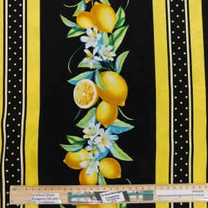 Quilting Patchwork Fabric LEMON FRESH BORDER 50x55cm FQ Material
