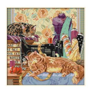 Cross Stitch Kit CATS and SEWING MACHINE X Stitch Joy Sunday