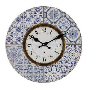 Clocks Wall Hanging Vintage Looking Moroccan Blue Tiles Clock 34cm