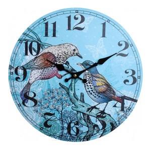 Clocks Wall Hanging Vintage Looking Twin Birds Clock 34cm