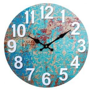 Clocks Wall Hanging Rustic Blue Crete Clock 34cm
