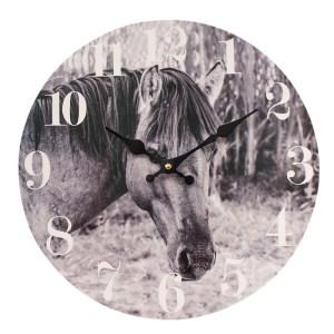 Clocks Wall Hanging Rustic Black and White Horses Clock 34cm