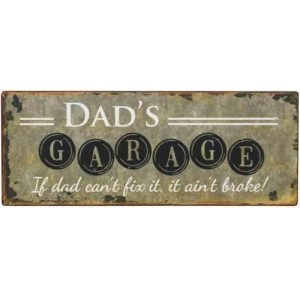 Country Metal Tin Sign Wall Art DADS GARAGE Plaque Rustic