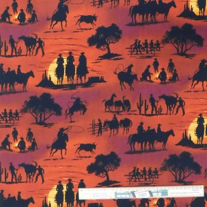 Quilting Patchwork Fabric SUNSET COWBOY 50x55cm FQ Material