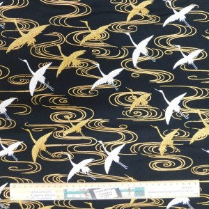 Quilting Patchwork Fabric JAPANESE CRANES 50x55cm FQ Material