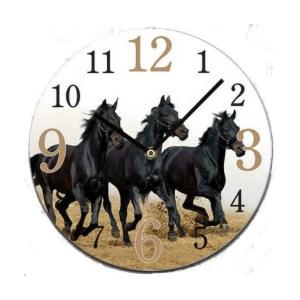 Clock French Country Wall Clocks 30cm BLACK HORSES Glass