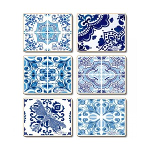 Country Kitchen VINTAGE BLUES Cinnamon Cork Backed Coasters Set 6