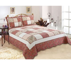 French Country Patchwork Bed Quilt VICTORIAN GARDEN THROW Coverlet