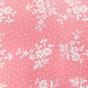 Patchwork Quilting Sewing Fabric APRICOT PINK White Flowers FQ 50x55cm New Material