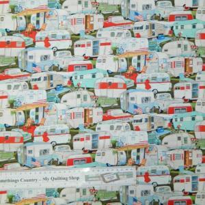 Patchwork Quilting Fabric CARAVAN CONVOY RETRO Material Cotton FQ 50X55cm NEW