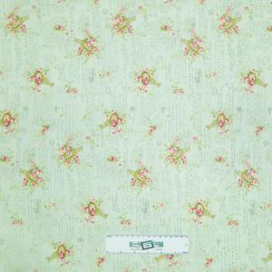 Patchwork Quilting Fabric MINT GREEN FLORAL Sewing Material Cotton FQ 50X55cm NEW