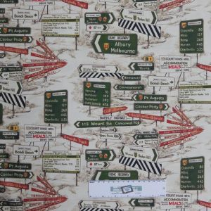 Quilting Patchwork Sewing Fabric AUSTRALIAN ROAD SIGNS 50x55cm FQ New Material