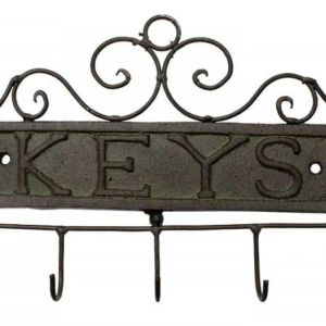 French Country Vintage Inspired Wall Art KEYS Wrought Iron Key Hooks NEW