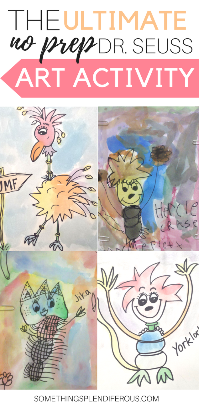 www.somethingsplendiferous.com #drseuss #art #easyart #quickart #drseussbook #classroom #teacher #simpleart This quick and easy art project will keep your students busy and they will have an awesome time creating their own Dr. Seuss like characters
