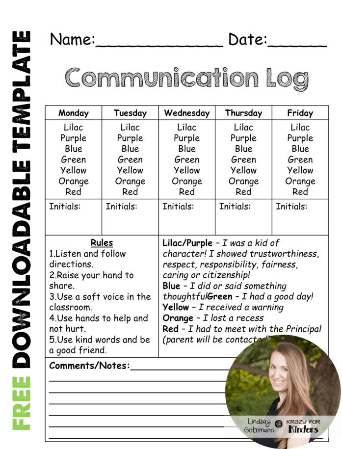 https://www.teacherspayteachers.com/Product/Daily-Communication-Log-for-Parents-435361