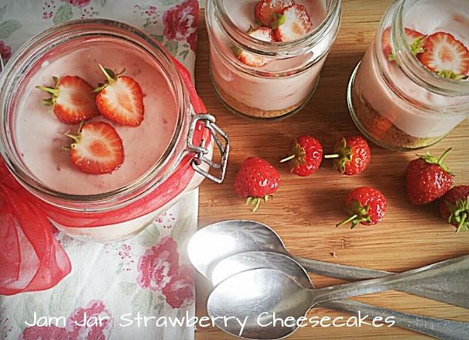 Jam Jar Strawberry Cheesecakes