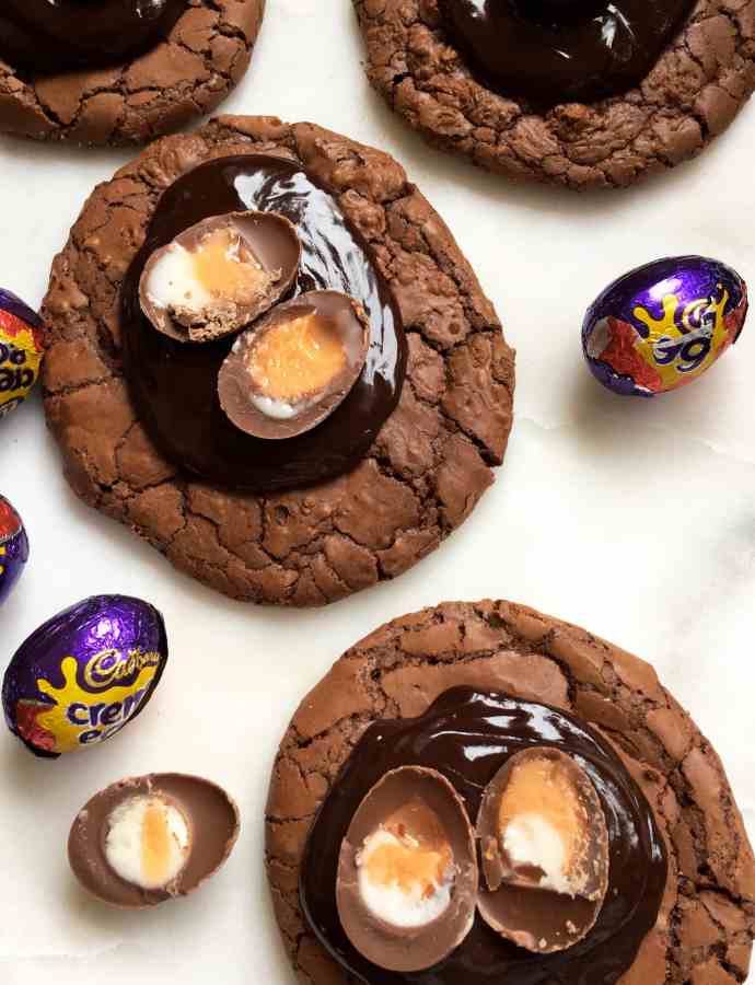 Creme egg chocolate brownie cookies