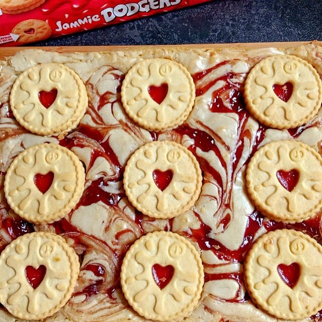 A uncut tray of Jammie Dodger Blondies