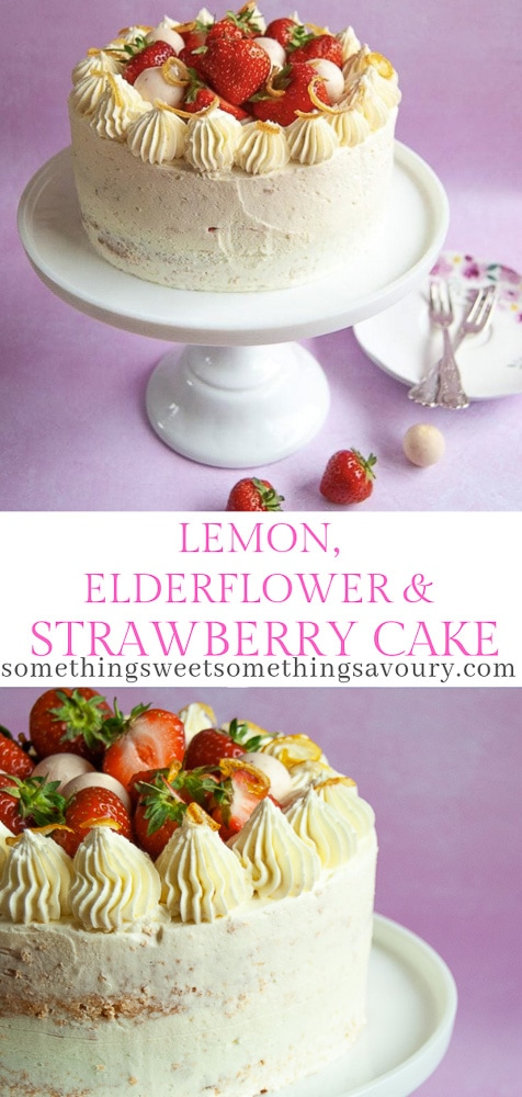 A lemon and elderflower cake with strawberries on a white cake stand. The cake has been decorated with buttercream swirls and topped with fresh strawberries, Lindor truffles and candied lemon peel.